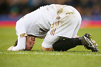 Gylfi Sigurdsson feels the pain from a knock during the Barclays Premier League match between Everton and Swansea City played at Goodison Park, Liverpool