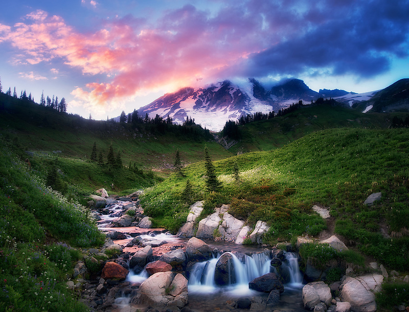 Edith Creek and Mt. Rainier with sunset. Mt. Rainier National Park, Washington