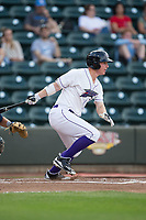 Zack Collins (8) of the Winston-Salem Dash follows through on his swing against the Myrtle Beach Pelicans at BB&T Ballpark on May 11, 2017 in Winston-Salem, North Carolina.  The Pelicans defeated the Dash 9-7.  (Brian Westerholt/Four Seam Images)