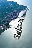 4415/Graswarder:EUROPA, DEUTSCHLAND, SCHLESWIG- HOLSTEIN, 07.06.2005: Graswarder ist ein 230 Hektar großes Naturschutzgebiet in der Nähe von Heiligenhafen. Hier brüten zahlreiche Vogelarten, wie beispielsweise Graugänse (Anser anser), Brandgaense (Tadorna tadorna) und Austernfischer (Haematopus ostralegus). Des Weiteren gibt es viele Strand- und Salzpflanzen, wie etwa Stranddistel (Eryngium maritimum) und Meerkohl (Crambe maritima). ..Meer, Insel, Halbinsel, Naturschutzgebiet, Vogelinsel, Vogelzug, Vogelfluglinie,  Rueckzugsgebiet, Rastplatz, Nistplatz,  Luftaufnahme, Luftbild,  Luftansicht.