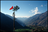 Nabin Pun, a Maoist rebel soldier of the People's Liberation Army, raises the communist flag from a tree above the village of Rukumkot, Nepal on Friday, 11 February 2005.<br />