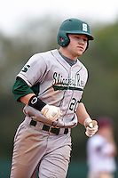 Slippery Rock Adam Urbania (20) runs the bases after hitting a home run during a game against the University of the Sciences Devils on March 6, 2015 at Jack Russell Field in Clearwater, Florida.  Slippery Rock defeated University of the Sciences 6-3.  (Mike Janes/Four Seam Images)