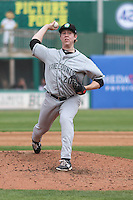 Kane County Cougars pitcher Brent Jones (20) delivers a pitch during a Midwest League game against the Wisconsin Timber Rattlers on May 16th, 2015 at Fox Cities Stadium in Appleton, Wisconsin.  Kane County defeated Wisconsin 4-2.  (Brad Krause/Four Seam Images)