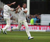 England's Stuart Broad celebrates taking the wicket of South Africa's Hashim Amla<br /> <br /> Photographer Stephen White/CameraSport<br /> <br /> Investec Test Series 2017 - Second Test - England v South Africa - Day 1 - Friday 14th July 2017 - Trent Bridge - Nottingham<br /> <br /> World Copyright &copy; 2017 CameraSport. All rights reserved. 43 Linden Ave. Countesthorpe. Leicester. England. LE8 5PG - Tel: +44 (0) 116 277 4147 - admin@camerasport.com - www.camerasport.com