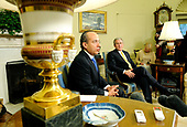 United States President George W. Bush (R) meets with President Felipe Calderon of Mexico in the Oval Office at the White House in Washington on January 13, 2009. <br /> Credit: Kevin Dietsch / Pool via CNP