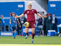 HARRISON, NJ - MARCH 08: Millie Bright #6 of England dribbles during a game between England and Japan at Red Bull Arena on March 08, 2020 in Harrison, New Jersey.