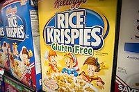 Kellogg's Rice Krispies breakfast cereal, promoting that it is gluten free, in the cereal department of a supermarket in New York on Wednesday, February 19, 2014.  (© Richard B. Levine)
