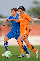 Kelly Smith (10) of the Boston Breakers and Meghan Schnur (7) of Sky Blue FC. Sky Blue FC and the Boston Breakers played to a 0-0 tie during a Women's Professional Soccer (WPS) match at Yurcak Field in Piscataway, NJ, on May 29, 2010.