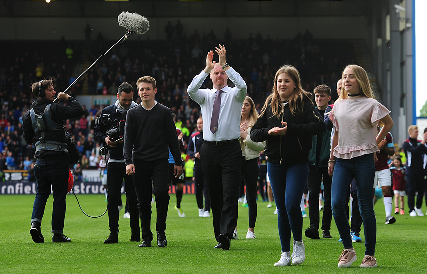 Burnley manager Sean Dyche applauds the fans at the end of the game<br /> <br /> Photographer Andrew Vaughan/CameraSport<br /> <br /> The Premier League - Burnley v West Ham United - Sunday 21st May 2017 - Turf Moor - Burnley<br /> <br /> World Copyright &copy; 2017 CameraSport. All rights reserved. 43 Linden Ave. Countesthorpe. Leicester. England. LE8 5PG - Tel: +44 (0) 116 277 4147 - admin@camerasport.com - www.camerasport.com