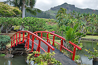 Bridge to japanese Gardens. Smith's Tropical Gardens. Kauai, Hawaii.