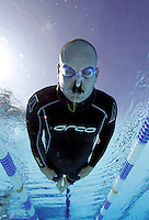 Bjarte Nygard freediving in Frognerbadet pool in Oslo, Norway. Training session..© Fredrik Naumann/Felix Features