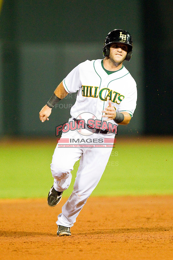 Carolina League All-Star Tommy La Stella #8 of the Lynchburg Hillcats hustles towards third base against the California League All-Stars during the 2012 California-Carolina League All-Star Game at BB&T Ballpark on June 19, 2012 in Winston-Salem, North Carolina.  The Carolina League defeated the California League 9-1.  (Brian Westerholt/Four Seam Images)