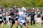 Corona Del Mar, CA 04/06/10 - Donald Dalton (Corona Del Mar #34) and unknown Danville/Monte Vista player in action during the Corona Del Mar-Danville/Monte Vista lacrosse game.