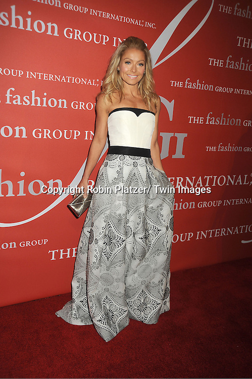 Kelly Ripa in Carolina Herrera dress attends the Fashion Group International's 29th Annual  Night of Stars Gala on October 25, 2012 at Cipriani Wall Street in New York City.