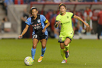 Chicago, IL - Sunday Sept. 04, 2016: Christen Press, Nahomi Kawasumi during a regular season National Women's Soccer League (NWSL) match between the Chicago Red Stars and Seattle Reign FC at Toyota Park.
