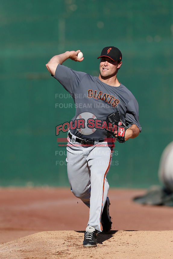 Hunter Strickland #40 of the San Jose Giants throws in the bullpen before a game against the Inland Empire 66'ers on April 18, 2013 at San Manuel Stadium in San Bernardino, California. (Larry Goren/Four Seam Images)