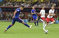 (180624) -- KAZAN, June 24, 2018 -- Radamel Falcao (1st L) of Colombia scores a goal during the 2018 FIFA World Cup WM Weltmeisterschaft Fussball Group H match between Poland and Colombia in Kazan, Russia, June 24, 2018. ) (SP)RUSSIA-KAZAN-2018 WORLD CUP-GROUP H-POLAND VS COLOMBIA LuixSiuxWai PUBLICATIONxNOTxINxCHN  <br /> Kazan 24-06-2018 Football FIFA World Cup Russia  2018 <br /> Poland - Colombia / Polonia - Colombia <br /> Foto Imago/Insidefoto