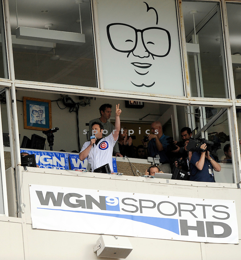 """Chicago area native,  VINCE VAUGHN  visits the Chicago Cubs at Wrigley Field. After throwing out the first pitch he later sang """"Take me out to the Ballgame"""" during the seventh inning of the Arizona Diamondbacks at the Chicago Cubs on April 30, 2010.  .."""