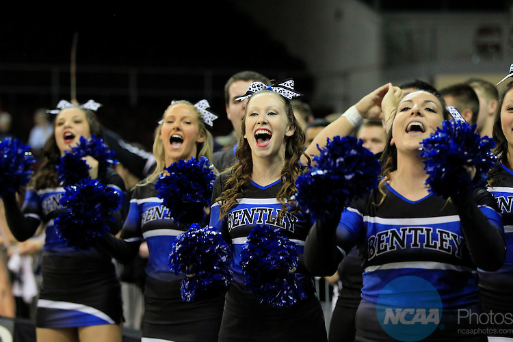 28 MAR 2014:  Cheerleaders of Bentley University cheer on their team during first half action against West Texas A&M during the Division II Women's Basketball Championship held at the Erie Insurance Arena in Erie, PA.Bentley defeated West Texas A&M 73-65 for the National title. Harry Scull Jr./NCAA Photos