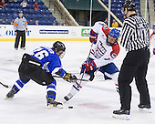 Justin Cseter (UAH - 26), Shayne Thompson (UML - 7), Jeremy Lovett - The University of Massachusetts-Lowell River Hawks defeated the University of Alabama-Huntsville Chargers 3-0 on Friday, November 25, 2011, at Tsongas Center in Lowell, Massachusetts.