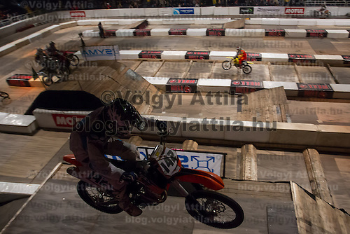 Csaba Jankfalvi from Hungary competes during the Indoor Super Moto-Cross race in Budapest, Hungary on February 4, 2012. ATTILA VOLGYI