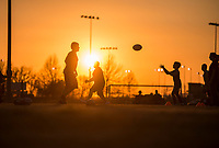 NWA Democrat-Gazette/ANTHONY REYES @NWATONYR<br /> Children run through rugby drills Wednesday March 8, 2017 at the Tyson Sports Complex. Youth rugby teams have been put together through Springdale Parks and Recreation.