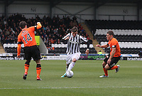 Graham Carey in between Mark Millar and John Rankin in the St Mirren v Dundee United Clydesdale Bank Scottish Premier League match played at St Mirren Park, Paisley on 27.10.12.