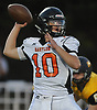 Joe Rende #10, Babylon quarterback, throws a pass during a Suffolk County Division IV varsity football game against host Shoreham-Wading River High School on Friday, Oct. 20, 2017.