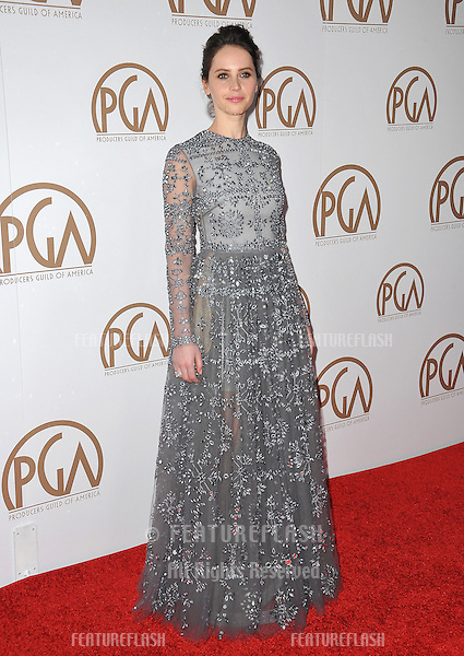 Felicity Jones at the 26th Annual Producers Guild Awards at the Hyatt Regency Century Plaza Hotel.<br /> January 24, 2015  Los Angeles, CA<br /> Picture: Paul Smith / Featureflash