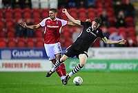 Lincoln City's Rob Dickie is fouled by Rotherham United's Jamie Proctor<br /> <br /> Photographer Chris Vaughan/CameraSport<br /> <br /> The Carabao Cup First Round - Rotherham United v Lincoln City - Tuesday 8th August 2017 - New York Stadium - Rotherham<br />  <br /> World Copyright &copy; 2017 CameraSport. All rights reserved. 43 Linden Ave. Countesthorpe. Leicester. England. LE8 5PG - Tel: +44 (0) 116 277 4147 - admin@camerasport.com - www.camerasport.com