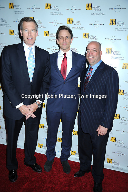 Brian Williams, Seth Meyers and Jeff Zucker at The 2010 Matrix Awards on April 19, 2010 at The Waldorf Astoria Hotel in New York City.