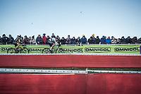 World Champion Wout van Aert (BEL/Crelan Charles) and Corne Van Kessel (NED/Telenet Fidea Lions) chasing. <br /> <br /> men's elite race<br /> Flandriencross Hamme / Belgium 2017