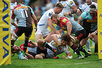 Alec Hepburn of Exeter Chiefs is stopped short of the line by Chris Robshaw of Harlequins during the Aviva Premiership match between Harlequins and Exeter Chiefs at The Twickenham Stoop on Saturday 7th May 2016 (Photo: Rob Munro/Stewart Communications)