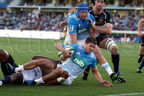 April 30th 2017,Canberra, Australia; Super Rugby Match; Brumbies versus Blues; Matt Duffie scores through Tevita Kuridrani
