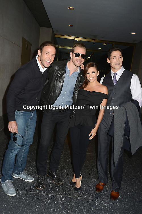 "Eva Longoria and men from ""Ready For Love"", Ernesto Arguello, Tim Lopez and Ben Patton  leave  the Today Show on April 8, 2013 at the Today Show in New York City. ."