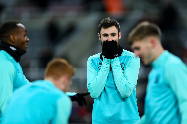 Blackburn Rovers' Ben Brereton reacts during the warm up<br /> <br /> Photographer Alex Dodd/CameraSport<br /> <br /> Emirates FA Cup Third Round - Newcastle United v Blackburn Rovers - Saturday 5th January 2019 - St James' Park - Newcastle<br />  <br /> World Copyright © 2019 CameraSport. All rights reserved. 43 Linden Ave. Countesthorpe. Leicester. England. LE8 5PG - Tel: +44 (0) 116 277 4147 - admin@camerasport.com - www.camerasport.com