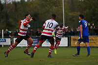 Tom Kavanagh of Kingstonian celebrates scoring the opener during Kingstonian vs Lewes, BetVictor League Premier Division Football at King George's Field on 16th November 2019