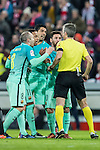 FC Barcelona's players Andres Iniesta Lujan, Neymar da Silva Santos Junior, Luis Suarez and Lionel Andres Messi argue with referee David Fernandez Borbalan during their Copa del Rey Round of 16 first leg match between Athletic Club and FC Barcelona at San Mames Stadium on 05 January 2017 in Bilbao, Spain. Photo by Victor Fraile / Power Sport Images