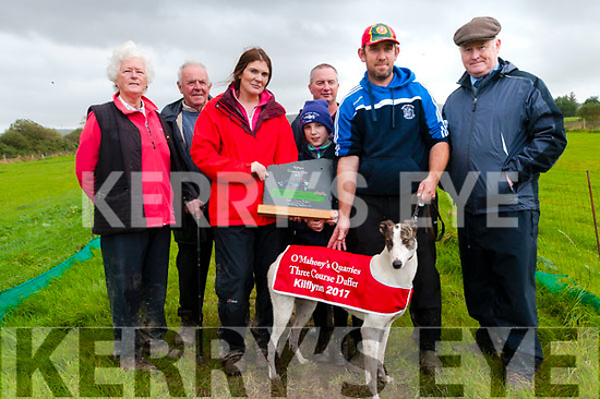 Kilflynn Coursing: Grainne Herbert presenting the trophy to Sarah Slattery on behalf of the owners  Donal O'Connell & Batty Heaphy, Abbeydorney of Straight Legs winner of the O'Mahoney Quarries Limited Duffer stake at Kilflynn coursing on Sunday last. L-R : Kathleen & Donal O'Connell, Grainne Herbert, Sarah & Daniel Slattery & DJ Histon ICC. Batty Heaphy at back.