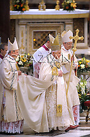 Pope Benedict XVI delivers his blessing during a Vespers prayer inside the Basilica of Saint Paul Outside the Walls, in Rome, Sunday, Jan. 25, 2009.