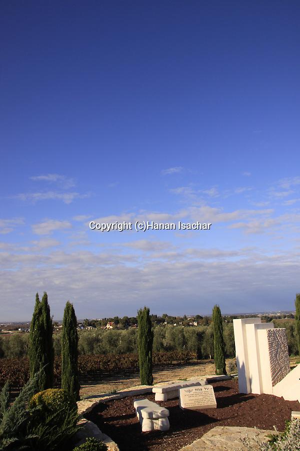 Israel, Shephelah, Mitzpe Tal memorial overlooking Kibbutz Hulda