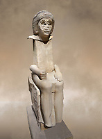 "Ancient Egyptian statue of Iteti, sandstone, Old Kingdom, 5th Dynasty, (2500-2400 BC), Mastaba. Egyptian Museum, Turin. <br /> <br /> Fragmentary sandstone statue inscribed for Iteti, identified as ""inspector of wab-priests of the pyramid of Khufu""; Iteti, wearing curly wig and moustache (engraved on face), seated on chair with bull's legs."