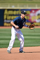 Lake County Captains third baseman Grant Fink (33) during practice before a game against the Dayton Dragons on June 7, 2014 at Classic Park in Eastlake, Ohio.  Lake County defeated Dayton 4-3.  (Mike Janes/Four Seam Images)