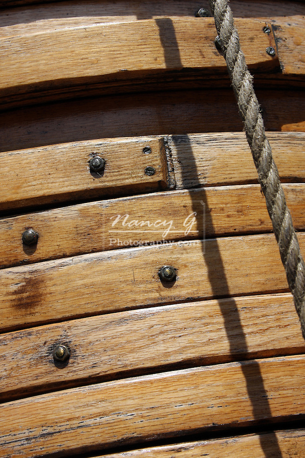 The wooden sail rings on the mast of the Pride of the Baltimore Ship