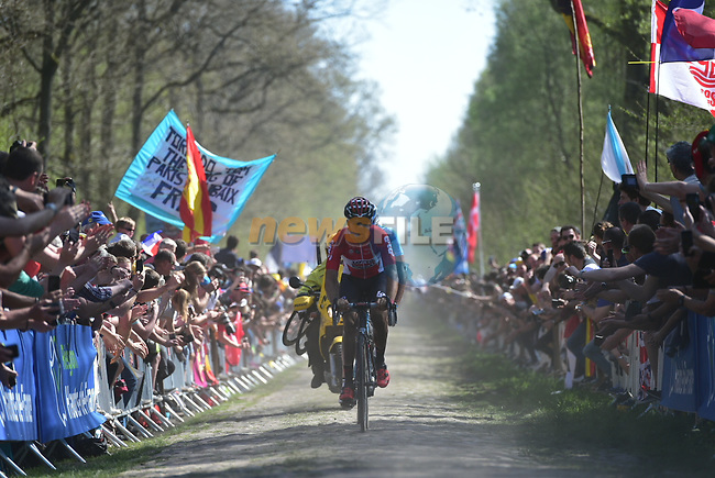 Jelle Wallays (BEL) Lotto-Soudal leads the way on pave sector 19 La Trouee d'Arenberg during the 115th edition of the Paris-Roubaix 2017 race running 257km Compiegne to Roubaix, France. 9th April 2017.<br /> Picture: ASO/P.Ballet | Cyclefile<br /> <br /> <br /> All photos usage must carry mandatory copyright credit (&copy; Cyclefile | ASO/P.Ballet)