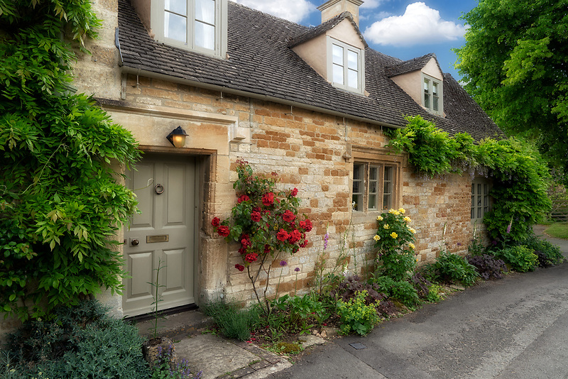 House and garden in Icomb, The Cotswols, Enngland