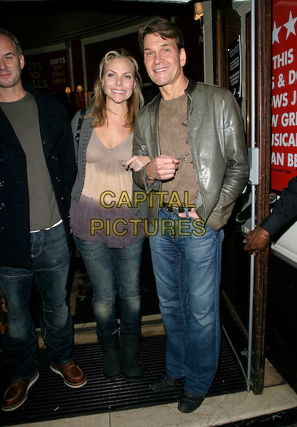 "SAMANTHA JANUS & PATRICK SWAYZE.Leaving The Piccadilly Theatre after starring in ""Guys & Dolls"", London, England, 16th 2006..full length green grey leather jacket jeans tie-dye top.Ref: AH.www.capitalpictures.com.sales@capitalpictures.com.©Adam Houghton/Capital Pictures."