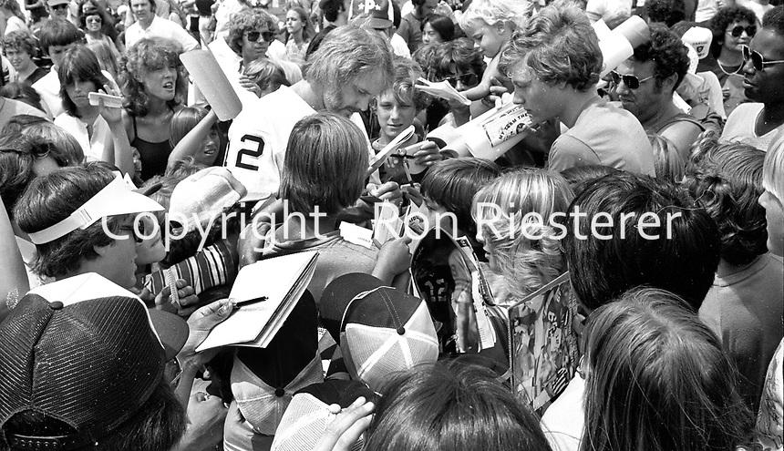 Oakland Raider quarterback <br />Ken Stabler with fans. (1979 photo/Ron Riesterer)
