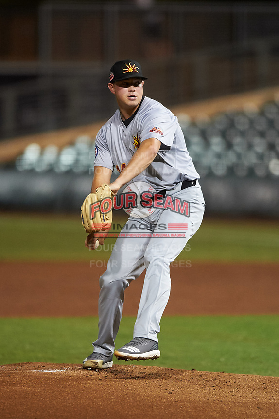 Mesa Solar Sox starting pitcher Keegan Thompson (14), of the Chicago Cubs organization, during an Arizona Fall League game against the Salt River Rafters on September 27, 2019 at Salt River Fields at Talking Stick in Scottsdale, Arizona. Salt River defeated Mesa 6-1. (Zachary Lucy/Four Seam Images)