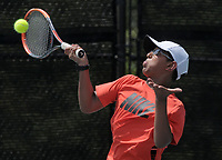 NWA Democrat-Gazette/BEN GOFF @NWABENGOFF<br /> Harshit Dhayal of Centerton competes Sunday, July 16, 2017, in the boys 16 singles consolation match during the Serena Smith State Farm Junior Open State tennis tournament at the Memorial Park tennis courts in Bentonville.